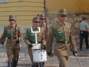 Soldiers changing the guard at Buda Castle