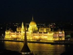 Orszaghaz by night from Buda Castle