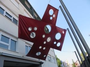 Vukovar memorial cross outside the hospital