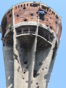 Vukovar's bombed water tower - now a monument to the community's survival