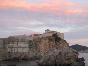 Dubrovnik city walls at sunset