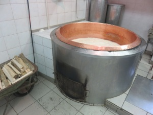 Ricotta cheese in copper tureen