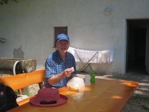 Eating fresh ricotta