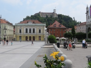 Academie Philharmonicorum with Ljubljana castle in the background
