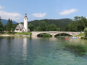 View of Church on Lake Bohinj