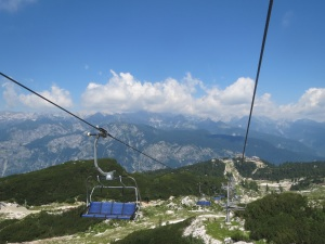 Chair lift and view of Triglav range