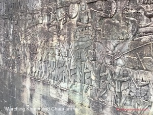 Marching Khmer and Cham armies, the Bayon
