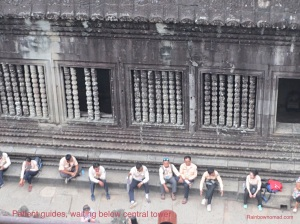 Guides waiting at central tower, Angkor Wat