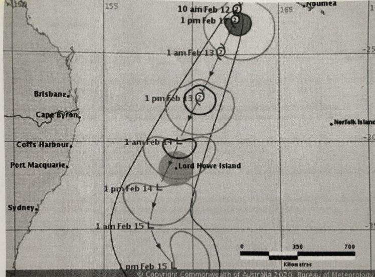 Bureau of Meteorology warning for Cyclone Uesi